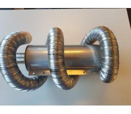 RVS rookgasset 50 KB20-45 Compact 7 met demper zij-uitlaat dubbelwandig